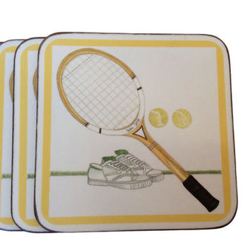Vintage Tennis Coasters Set Point Pimpernel Sports Coasters Vintage Coaster Set England De Luxe Finish Cork Set Tennis Motif