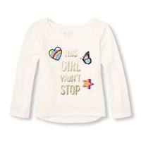 Toddler Girls Long Sleeve 'This Girl Wont' Stop' Patch Top | The Children's Place