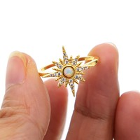 gold filled bling bling Sun burst aaa cz finger ring white opal ring flower untique delicate women jewelry size 6 7 8