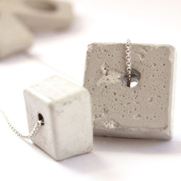 Beautiful Silver necklace, with two unique handmade gray concrete cube shape pendant, hangs on delicate 925 silver necklace.
