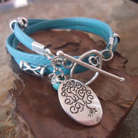SEWN IN TURQUOISE Wrap Bracelet with Spacer & Tree by AsaiBolivien 8,90 US$