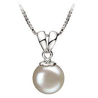 Sally White 9-10mm AA Quality Freshwater 925 Sterling Silver Pearl Pendant