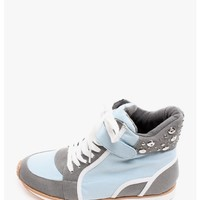 Blue Pippa Canvas High Top Sneakers   $11.50   Cheap Trendy Sneakers Chic Discount Fashion for Wome