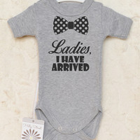 Funny baby boy clothes. Ladies I have arrived baby romper. Baby boy cute clothes. Bow tie baby bodysuit