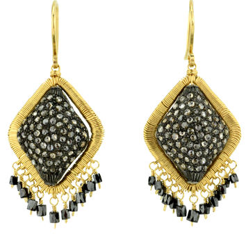 Dana Kellin Fine Jewelry Pave Diamond and Fringe Earrings