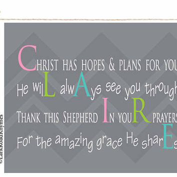 Baptism Gift Girl Graduation Gift Christening Gifts Christian Confirmation Gift Baby Dedication Gift For Goddaughter Poem 8x10 Claire