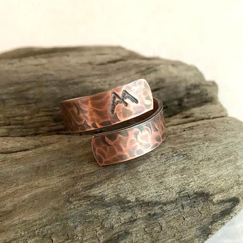 Copper Mountain Wrap Ring, stamped rustic hammered adjustable band wide birthday hiking climbing travel skiing gift for her him
