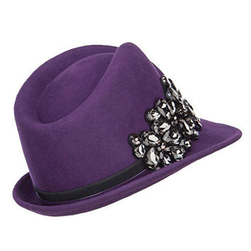 Ladies Wool Felt Stone Fedora - Purple OSFM