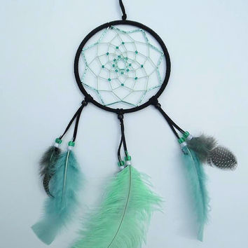 Black and Mint beaded dream catcher- home decor - one of a kind dream catcher