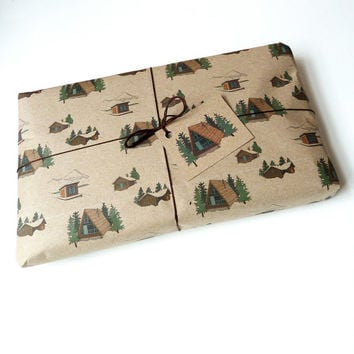 winter lodge gift wrap set
