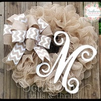 Burlap Monogram Wreath, Monogram Wreath, Burlap Wreath with Initial, Rustic Wreath, Holiday Wreath, Mesh Wreath, Front Door Wreath, Wreath