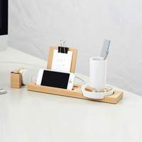 Minimalist Desk Assistant - Ceramic & Wood