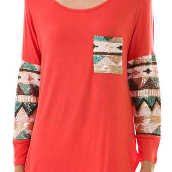 Aztec Sequin Sleeve & Pocket Top Coral