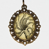 Octopus Necklace Oval Pendant