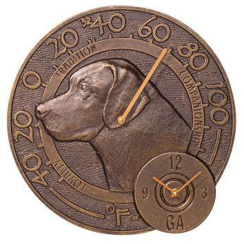 Labrador Retriever Bronze Thermometer and Clock