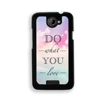 Quote - Do What You Love Pastel Sky - Protective Designer BLACK Case - Fits HTC One X / One X+