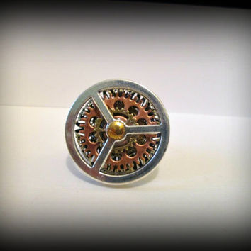 Steampunk ring- futuristic jewellery-gear charm ring-watch parts ring- fthumb ring-gothic ring-punk ring-bir statement ring-one size