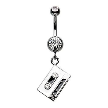 Retro Cassette Tape Sparkle Belly Button Ring