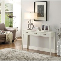 Home Decorators Collection Amelia 3-Drawer White Wooden Console Table-SK17738 - The Home Depot