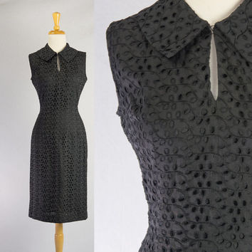 Vintage 1950's Pin-up Black Eyelet Wiggle Dress