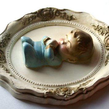 Vintage Praying Boy Chalkware Wall Plaque
