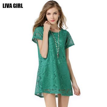 [12953] Women Short Sleeves Filigree Lace Multiple Color Tunic Dress