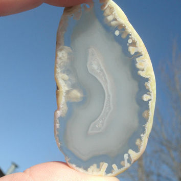 White/Clear agate slice, pendant bead, flat, freeform, druzy, jewelry supply, polished, drilled, clear and white shades,  DIY agate focals