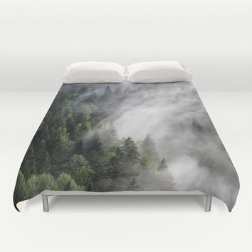 Duvet Cover, Mountain Trees Forest Wilderness Clouds Fog, Decorative Nature Bedroom Decor, Home Decor, King, Queen, Full