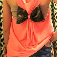 CAMO BOW Back Racerback Tank Top Swimsuit Cover up Bridesmaid Gift