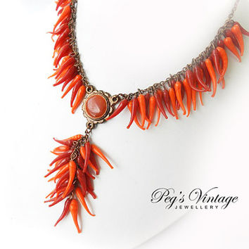 Vintage Red And Orange Hot Chili Peppers//Glass Tassel Bead Necklace//Choker