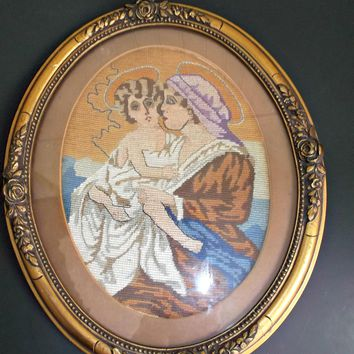 Gold Gilt Wood Framed Circa 1940's Needlepoint Mary with Young Jesus Rose's