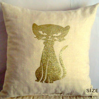 Gold glitter cat 18x18 pillow cover – Linen burlap throw