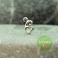 NOSE STUD /French heart sterling silver/ Piercing/ Tragus Ear/ Cartilage Earrings/ Nose ring/ Hoop nose/ Helix Earrings