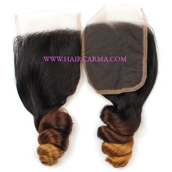 Loose Wave 4x4 Lace Closure Free Part 100% Unprocessed Virgin Remy Hair