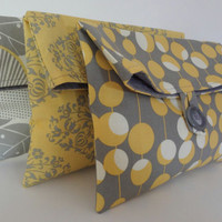 Set of 3 Bridesmaid Bags in Amy Butler Fabrics - Yellow and Gray Wedding - Bridemaids Clutches