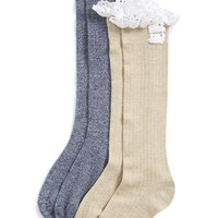 Girl's Tucker + Tate Crochet Ruffle Knee High Bootie Socks (2-Pack)