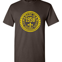 Made in 1958 All Original Parts Tshirt. 57th Birthday Shirt.  Funny Birthday Tshirts. Ladies and Mens Unisex Styles. Makes A Great Gift.