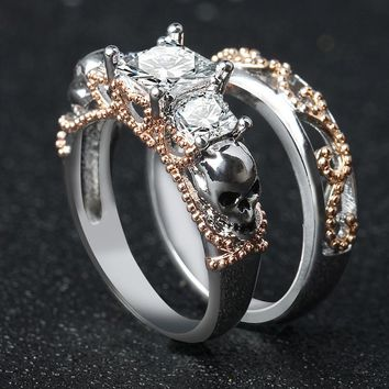 Rose Gold Color Heart Wedding Ring Set Unique Skull White Stone Zircon Bridal Ring Size 5-12