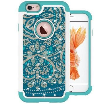 DCCKRQ5 iPhone 6s Plus Case, MagicSky [Shock Absorption] Studded Rhinestone Bling Hybrid Dual Layer Armor Defender Protective Case Cover For iPhone 6 Plus (2014) / iPhone 6s Plus (2015) - Flower
