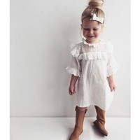 Girls Lace Ruffle Collar Dress