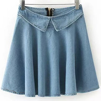 Light Blue Pleated Denim Mini Skirt