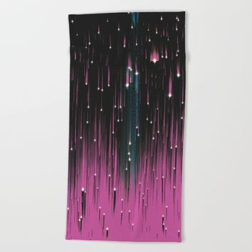 Pink Meteors Beach Towel by DuckyB