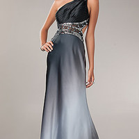 One Shoulder Ombre Formal Gown by Betsy and Adam
