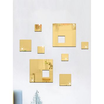 Square Mirror Wall Sticker Set 8pcs