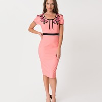 Coral Pink & Black Trim Floral Embroidered Prima Donna Wiggle Dress