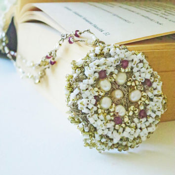 Handmade Crochet Wedding Romantic Lace Pendant Fusion by sukran