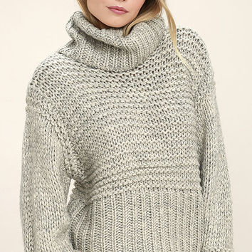 Heart-to-Heart Heather Grey Crop Sweater