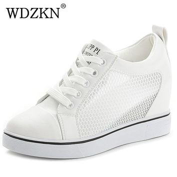 WDZKN Summer Wedge Women Casual Shoes Black White Pumps Side Air Mesh Breathable Heigh