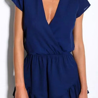 Short Sleeve V-neck Surplice Ruffled Rompers