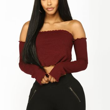 Joy Off The Shoulder Top - Wine